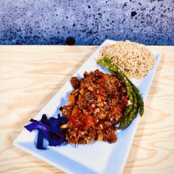 Commandez repas prêt à manger bœuf haché biologique Africain