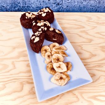 Commandez collation santé muffin pois chiche, banane, cacao, sans lactose, sans gluten